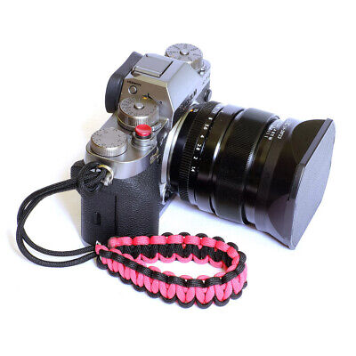 Black/Pink Paracord Wrist Strap for DSLR Compact Cameras Fuji Canon Nikon Sony