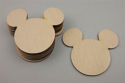 10x Wooden MICKEY MOUSE Embellishment HANGING ROOM Decoration Shape (V51)