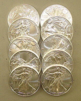 Lot of (10) 2019 1 oz .999 Fine American Silver Eagle Bullion Coins