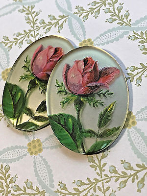 18x30, Vintage Glass Cabochons Mirrored Pink Rose Victorian Roses NOS #983