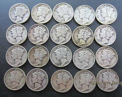 Mercury Silver Dimes Lot of 20 90% Silver Coins, MIXED DATES, FREE SHIP # 1010