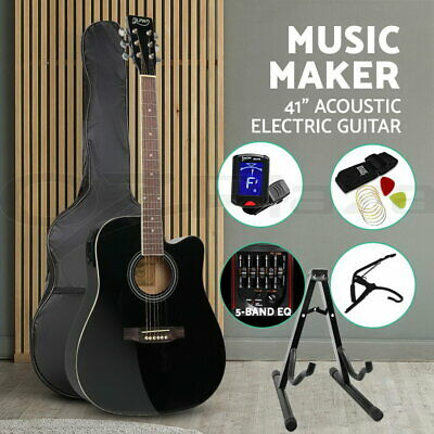 """41"""" Inch Electric Acoustic Guitar Wooden Classical D Shape Full Size Amp Black"""
