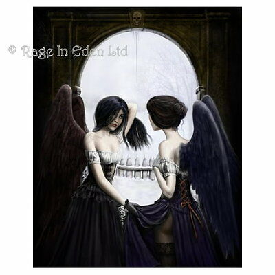 *MEETING OF THE DARK ANGELS* Goth Skull Illusion Blank Card By Gordon Napier