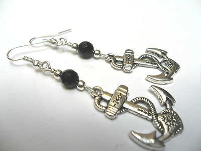 A PAIR OF  TIBETAN SILVER DANGLY SHIPS ANCHOR  BLACK BEAD   EARRINGS. NEW.