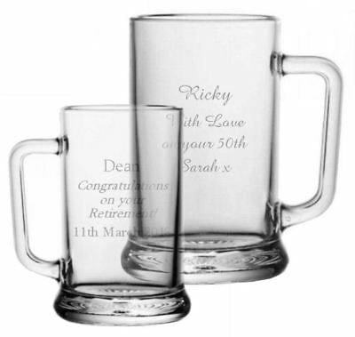 Personalised Glass Beer Stein Tankard, Engraved Wedding Birthday Retirement Gift
