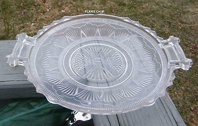 VINTAGE OLD EAPG GLASS HANDLED SERVING PLATE PLATTER