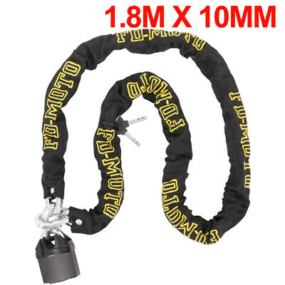 Chain Lock Heavy Duty Bike Motorcycle Motorbike Chain & Pad Lock Security 1.8M