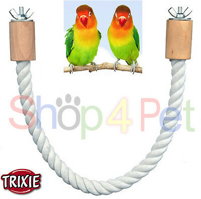 TRIXIE PURE COTTON ROPE PERCH with ATTACHMENTS- BUDGIE, CANARY or SMALL BIRDS,
