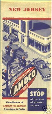 1954 Amoco New Jersey Road Map