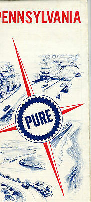 1967 Pure Oil Pennsylvania Vintage Road Map