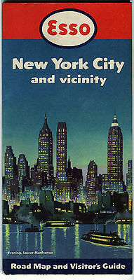 1950 Esso New York City and Vicinity Vintage Road Map / Great Cover !