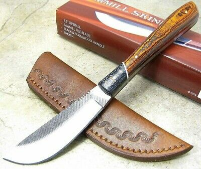 SAWMILL SKINNER Larger Full Tang Red / Gray Pakkawood Handle Fixed Blade Knife