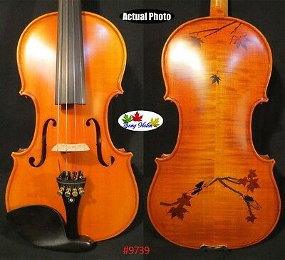 Strad style SONG maestro 4/4 violin,inlay rosewood maple leaf,perfect #9739