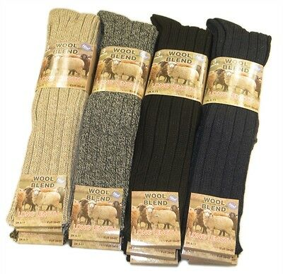 6 Pairs Of Men's Chunky Long Wool Socks, Thick Heavy Duty Work Boot Socks, 6-11