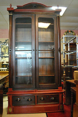 """97"""" High Antique Mahogany Victorian Bookcase, Display Cabinet, Mid 1800's"""