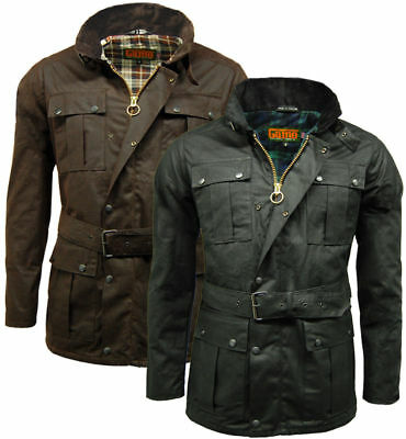 Game Continental Mens Biker Wax Jacket