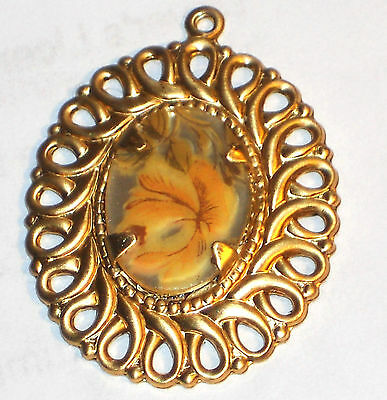 #1269D Vintage Pendant Floral Filigree Yellow Rose Mirrored Flower Victorian NOS