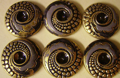 Antique Art Deco Stamp Brass Hand Painted Metal Dress Clothes Sewing Buttons 25p