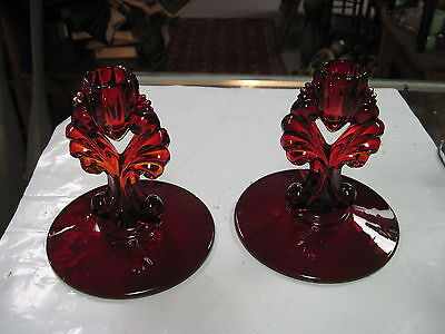 PAIR OF  NEW MARTINSVILLE RED JANICE  5 1/2 INCH CANDLESTICKS