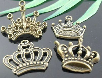 wholesale lots Bronze Plated Crown Charms Lead-Free