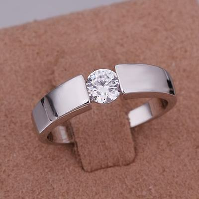 925 Fashion Silver exquisite Austria Crystal wedding Ring jewelry women men