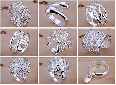 9pcs wholesale price beautiful Fashion 925 sterling Silver Plated cute Ring