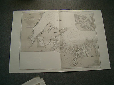 Vintage Admiralty Chart 285 NEWFOUNDLAND - ORANGE BAY to GANDER BAY - 1909 edn