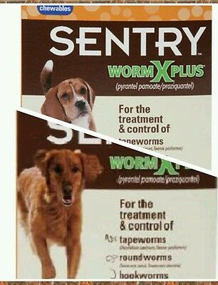 SENTRY HC WORM X PLUS WORMX 12 chewable treatments small large dogs