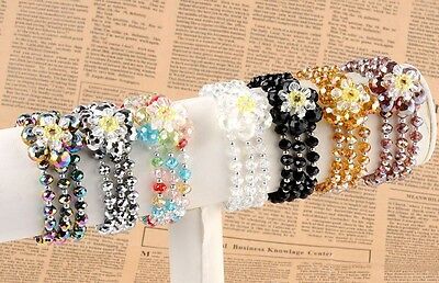 Flat Bead Crystal Glass 3-Row Faceted Flower Stretchy  Bracelet Bangle Lady Girl