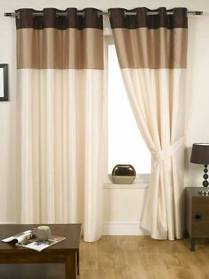 Harmony Ready Made Fully Lined Eyelet Ring Top Curtains Natural