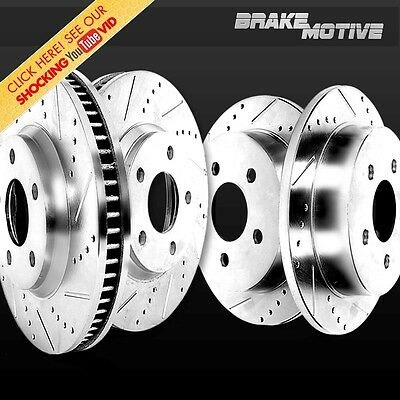 2 FRONT & 2 REAR DRILLED AND SLOTTED PREMIUM PERFORMANCE BRAKE ROTORS M700215