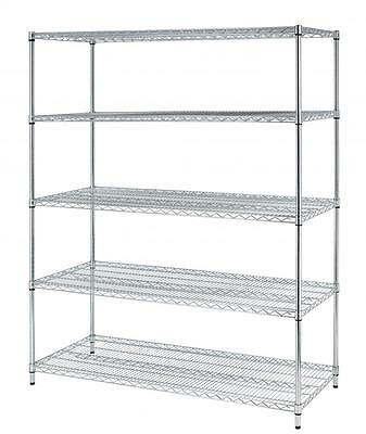 Chrome X-Large 5 Layer Shelf Adjustable Steel Wire Metal Shelving Rack 8245