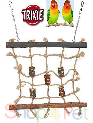 TRIXIE NATURAL LIVING ROPE CLIMBING WALL + CHAIN - BUDGIE, CANARY or SMALL BIRDS