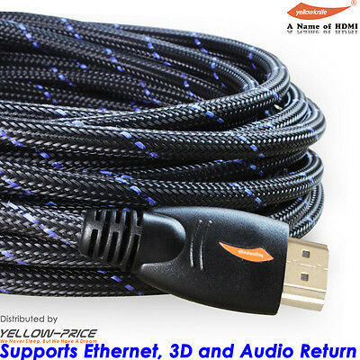 Gold Plated Braided 30FT HDMI Cable V1.4 HD 1080P for LCD DVD HDTV Samsung PS3