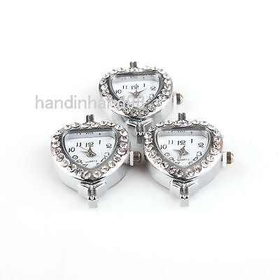 1x Quartz Assorted Rhinestones Silver Tone Watch Face Findings Making Choose