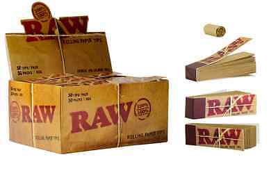 BOX ORIGINAL TIPS by RAW Rolling Papers Natural Unrefined 50 Packs/2500 Total