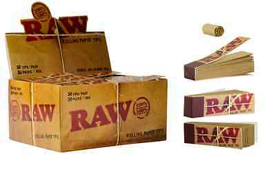 RAW Papers Brand Natural Unrefined Cigarette Rolling Tips 50 Packs/2500 Total