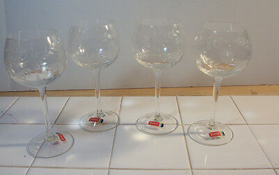 Set of 4 Etched Bubble Wine Glasses / Goblets - Fostoria - Floral Daisy? Pattern