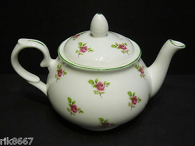 Dot rose English Fine Bone China 2 Cup Tea Pot By Milton China (Green Rim)