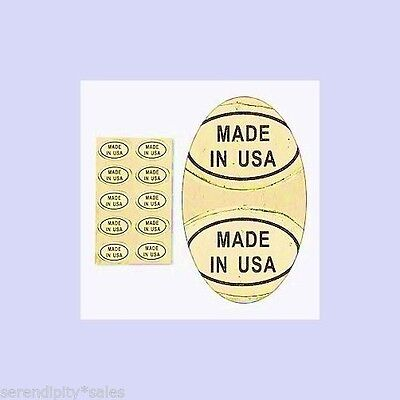 "1000 (1,000) Peel Off Adhesive LABELS ~ Oval 1/2"" x 5/16""  Marked ""MADE IN  USA"""