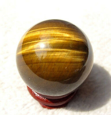 63g BEST!!! NATURE TIGEREYE CRYSTAL SPHERE BALL REIKI Healing + STAND H17