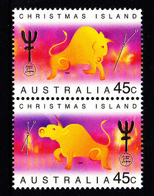 1997 Christmas Island Year of The Ox - MUH Vertical Pair