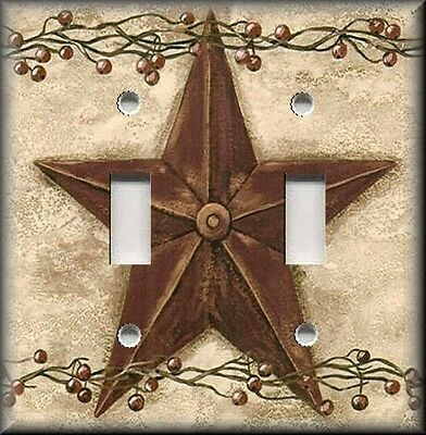 Metal Light Switch Plate Cover Country Home Decor Rusty Red Barn Star Berries