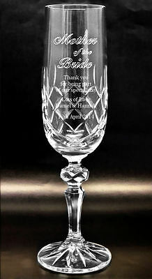 Personalised 24% Lead Cut Crystal Glass Champagne Flute, Engraved Wedding Gift