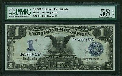 1899 $1 SILVER CERTIFICATE BANKNOTE, CHOICE ABOUT UNCIRCULATED, CERTIFIED PMG58