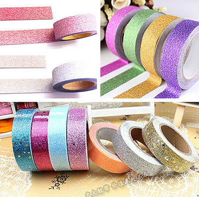 10M DIY Glitter Washi Tape Paper Adhesive Scrapbooking Sticky Craft Decor Gift