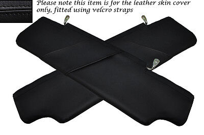 Black Stitch 2X Sun Visors Leather Covers Fits Land Rover Defender 2007-2014