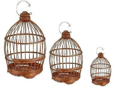 Cage à oiseaux en Bambou Décoration Urne Crochet de Suspension H 40 cm Lot de 3