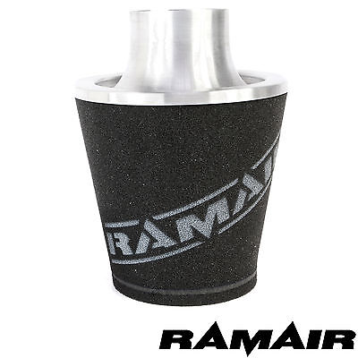 Ramair Silver Medium Aluminium Induction Air Filter Universal 90Mm Od Neck