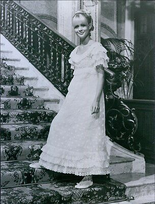 Vintage 1968 Actress JUDY GEESON White Frill Nightgown Glamour Publicity Photo